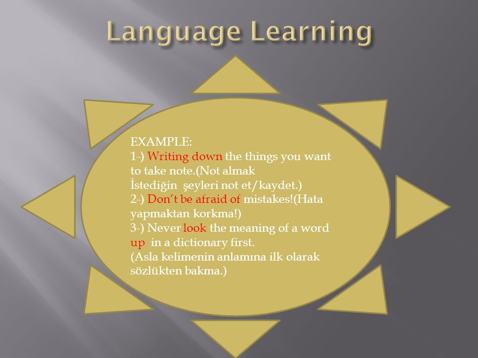 Language Learning EXAMPLE: