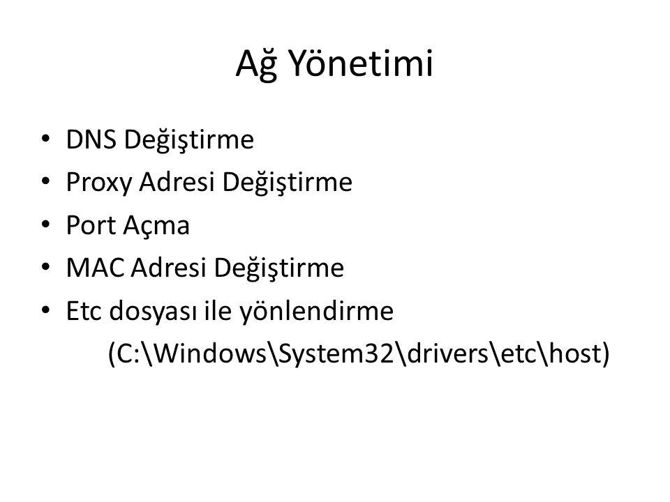 Ağ Yönetimi DNS Değiştirme Proxy Adresi Değiştirme Port Açma