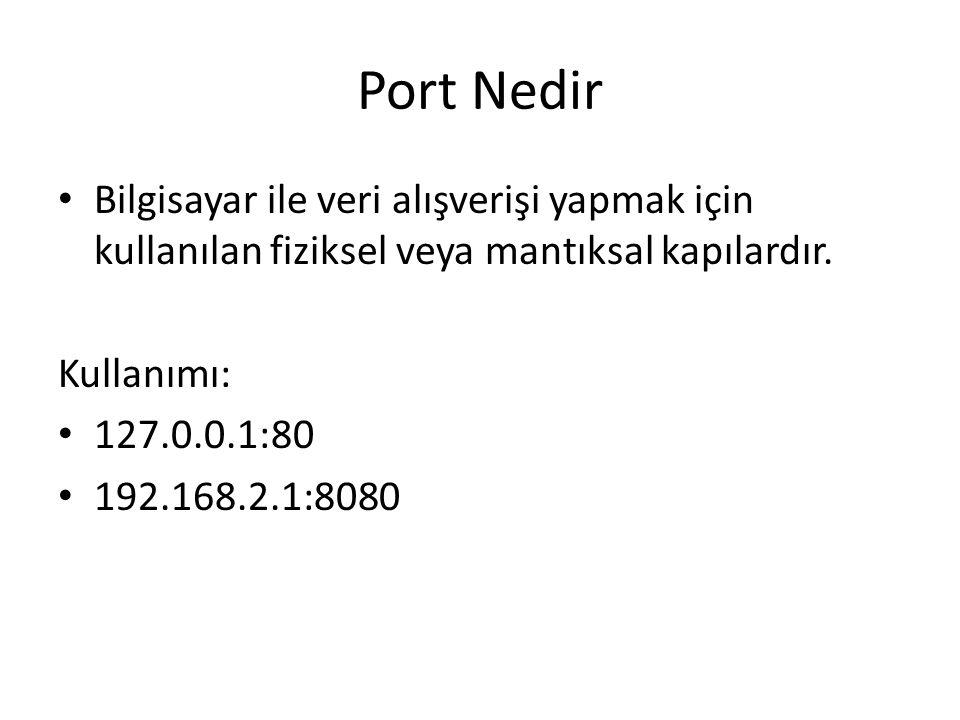 Port Nedir Bilgisayar ile veri alışverişi yapmak için kullanılan fiziksel veya mantıksal kapılardır.