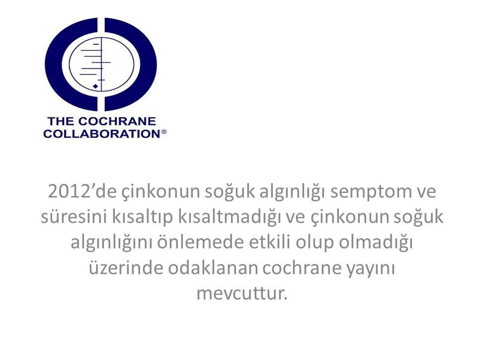 2012'de çinkonun soğuk algınlığı semptom ve süresini kısaltıp kısaltmadığı ve çinkonun soğuk algınlığını önlemede etkili olup olmadığı üzerinde odaklanan cochrane yayını mevcuttur.