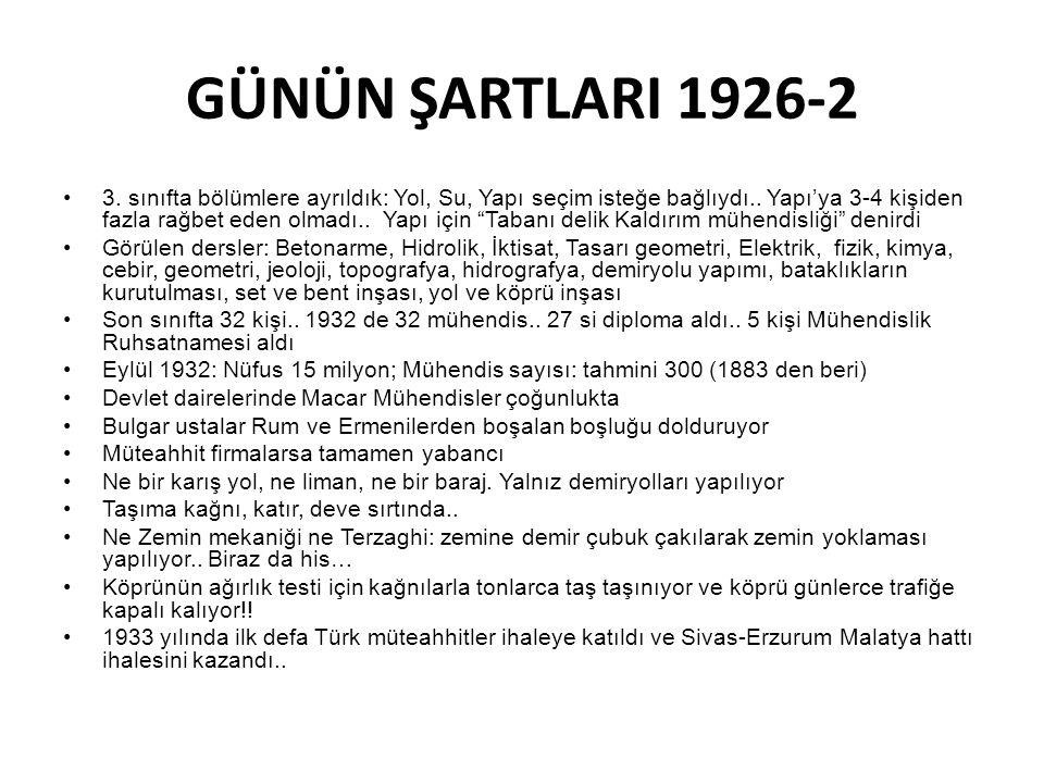 GÜNÜN ŞARTLARI 1926-2
