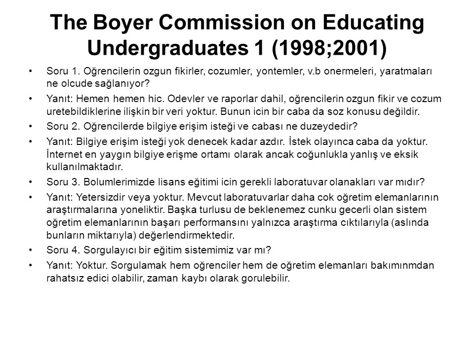 The Boyer Commission on Educating Undergraduates 1 (1998;2001)