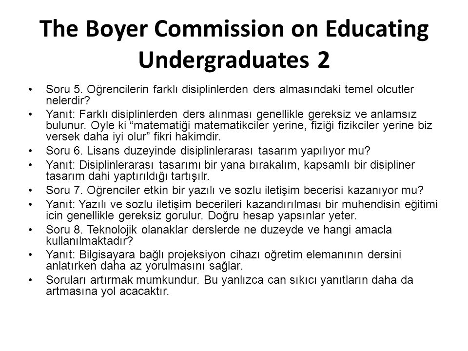 The Boyer Commission on Educating Undergraduates 2
