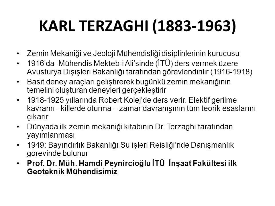 KARL TERZAGHI (1883-1963) Zemin Mekaniği ve Jeoloji Mühendisliği disiplinlerinin kurucusu.