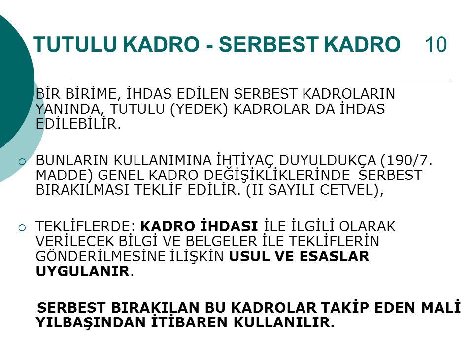 TUTULU KADRO - SERBEST KADRO 10