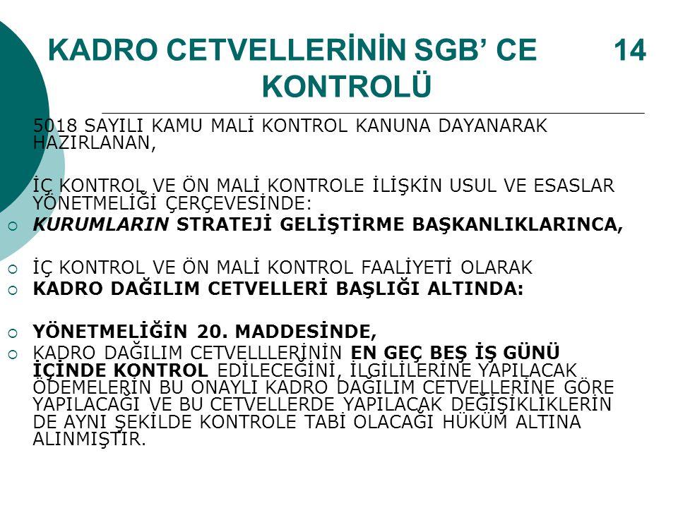 KADRO CETVELLERİNİN SGB' CE 14 KONTROLÜ