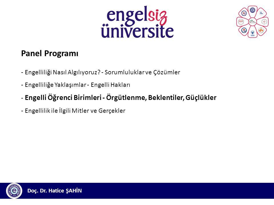 Panel Programı - Engelliliği Nasıl Algılıyoruz - Sorumluluklar ve Çözümler. - Engelliliğe Yaklaşımlar - Engelli Hakları.