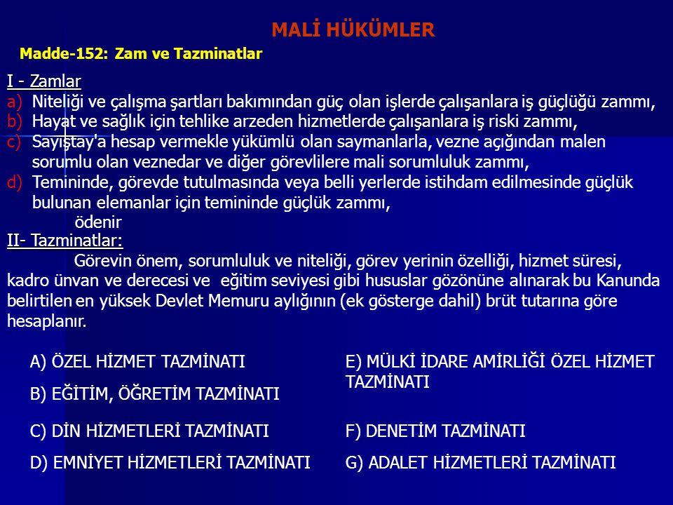 MALİ HÜKÜMLER I - Zamlar
