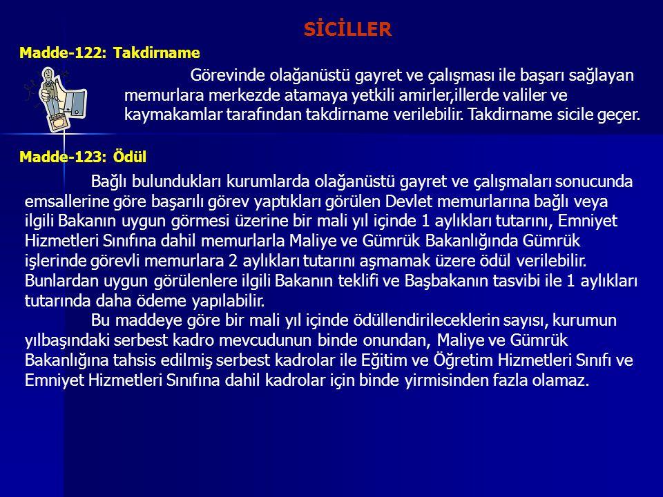 SİCİLLER Madde-122: Takdirname.