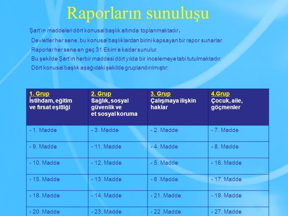 Raporların sunuluşu Şart'ın maddeleri dört konusal başlık altında toplanmaktadır.