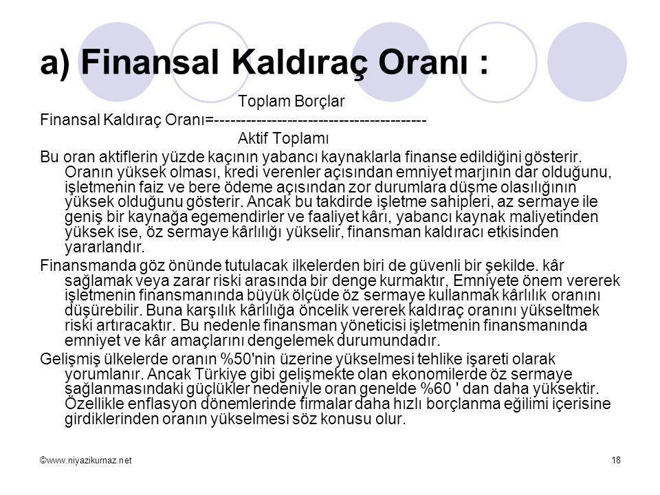 a) Finansal Kaldıraç Oranı :
