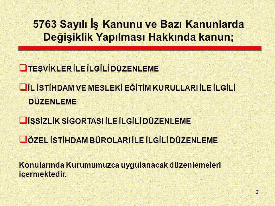 5763 Sayılı İş Kanunu ve Bazı Kanunlarda Değişiklik Yapılması Hakkında kanun;