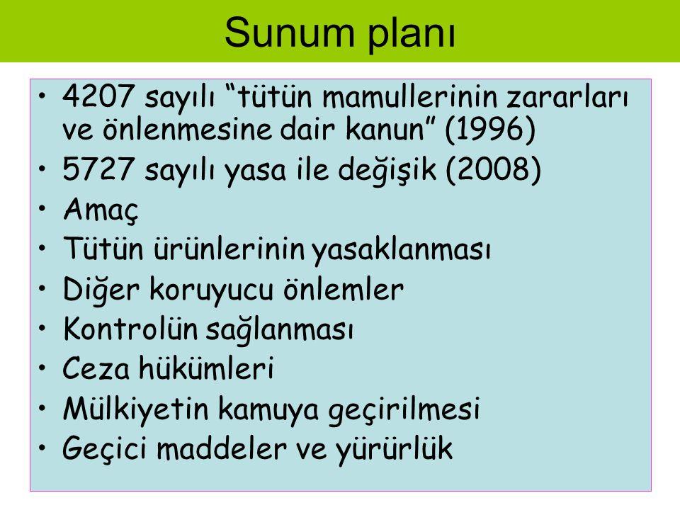 Sunum planı 4207 sayılı tütün mamullerinin zararları ve önlenmesine dair kanun (1996) 5727 sayılı yasa ile değişik (2008)