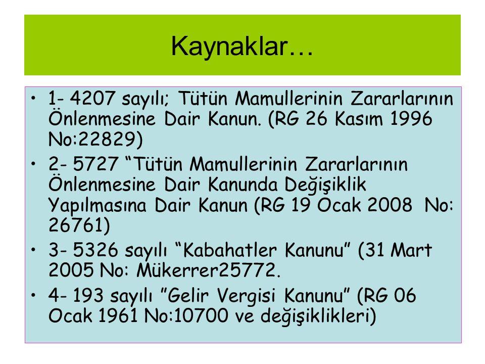 Kaynaklar… 1- 4207 sayılı; Tütün Mamullerinin Zararlarının Önlenmesine Dair Kanun. (RG 26 Kasım 1996 No:22829)
