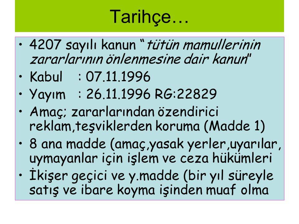 Tarihçe… 4207 sayılı kanun tütün mamullerinin zararlarının önlenmesine dair kanun Kabul : 07.11.1996.