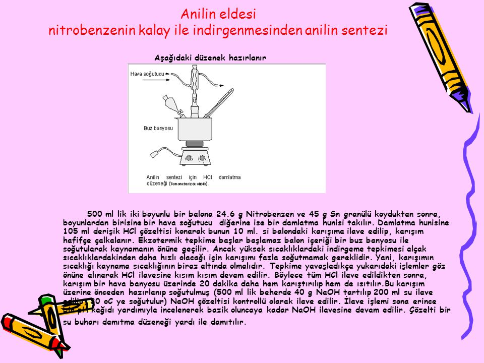 Anilin eldesi nitrobenzenin kalay ile indirgenmesinden anilin sentezi
