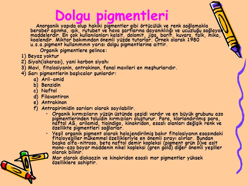 Dolgu pigmentleri