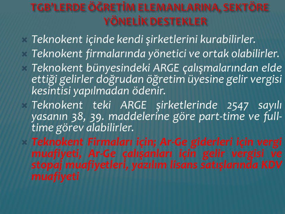 TGB'LERDE ÖĞRETİM ELEMANLARINA, SEKTÖRE YÖNELİK DESTEKLER