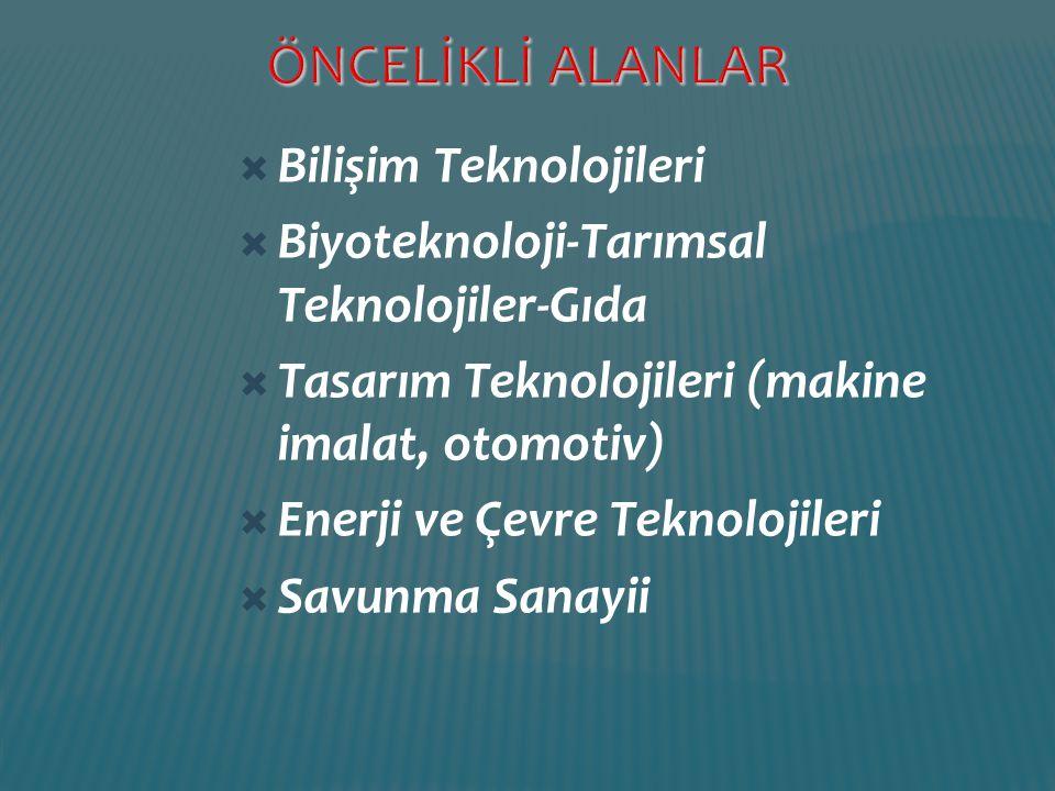 ÖNCELİKLİ ALANLAR Bilişim Teknolojileri