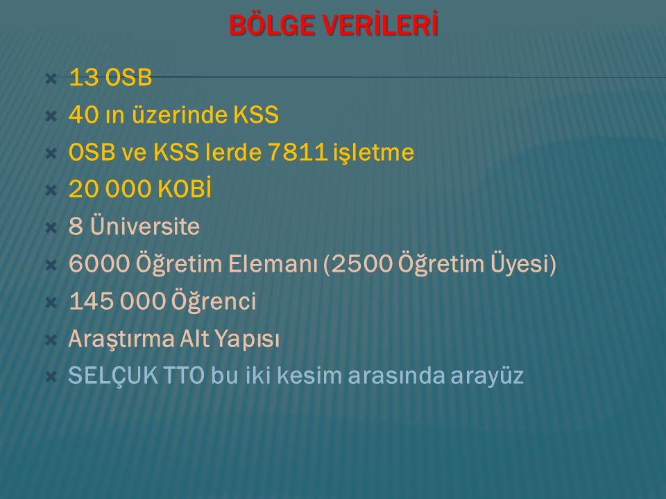 BÖLGE VERİLERİ 13 OSB 40 ın üzerinde KSS OSB ve KSS lerde 7811 işletme
