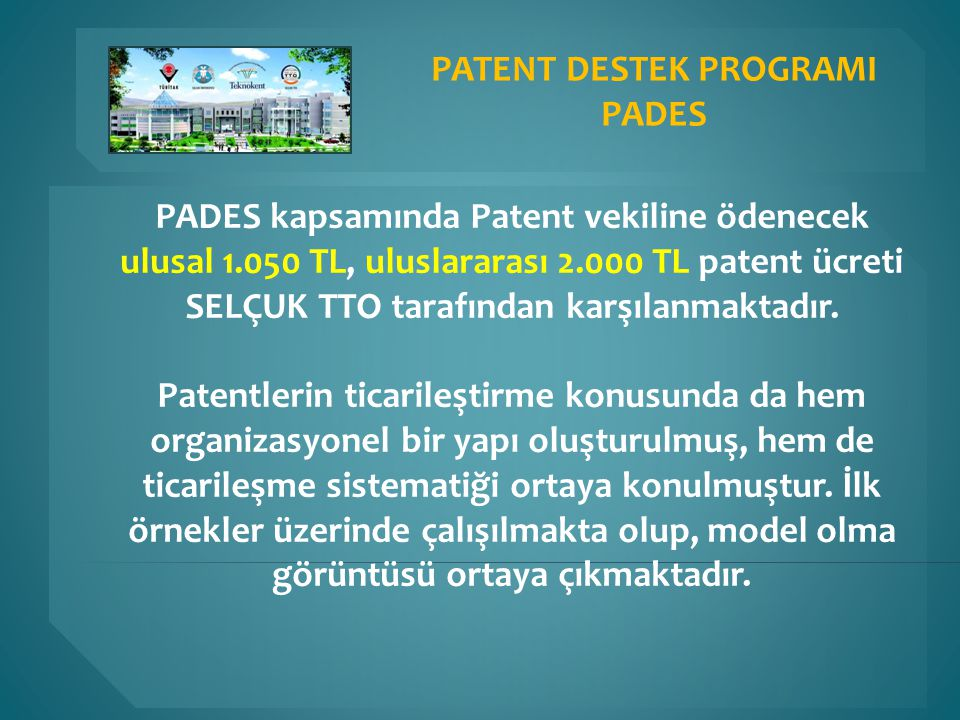 PATENT DESTEK PROGRAMI PADES kapsamında Patent vekiline ödenecek