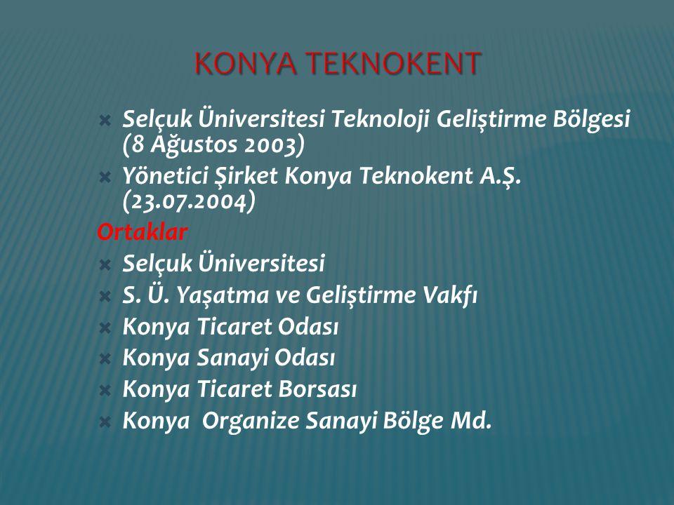 KONYA TEKNOKENT Selçuk Üniversitesi Teknoloji Geliştirme Bölgesi (8 Ağustos 2003) Yönetici Şirket Konya Teknokent A.Ş. (23.07.2004)