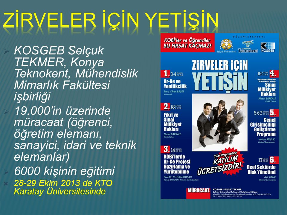 ZİRVELER İÇİN YETİŞİN KOSGEB Selçuk TEKMER, Konya Teknokent, Mühendislik Mimarlık Fakültesi işbirliği.