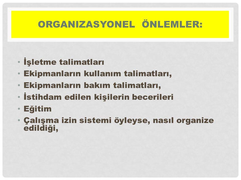 Organizasyonel önlemler: