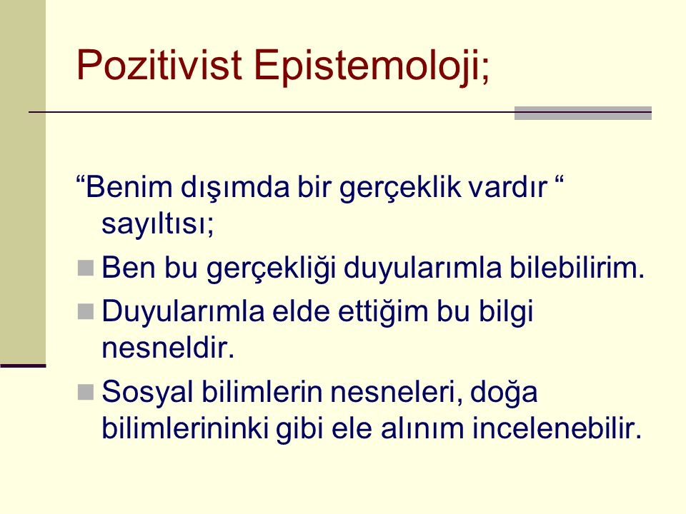 Pozitivist Epistemoloji;