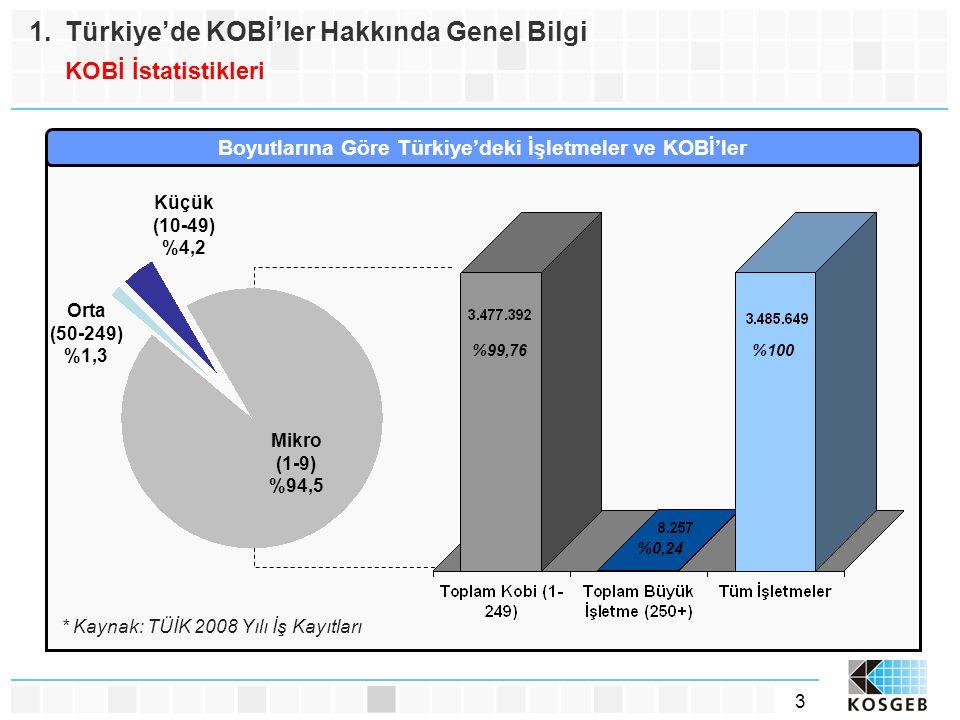 Boyutlarına Göre Türkiye'deki İşletmeler ve KOBİ'ler
