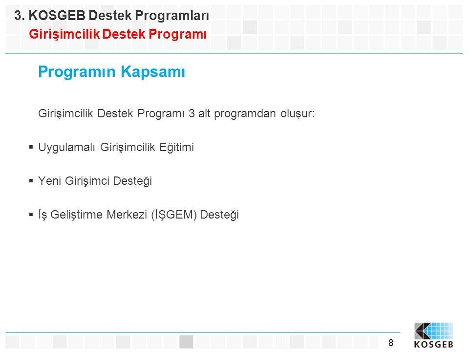 Programın Kapsamı 3. KOSGEB Destek Programları