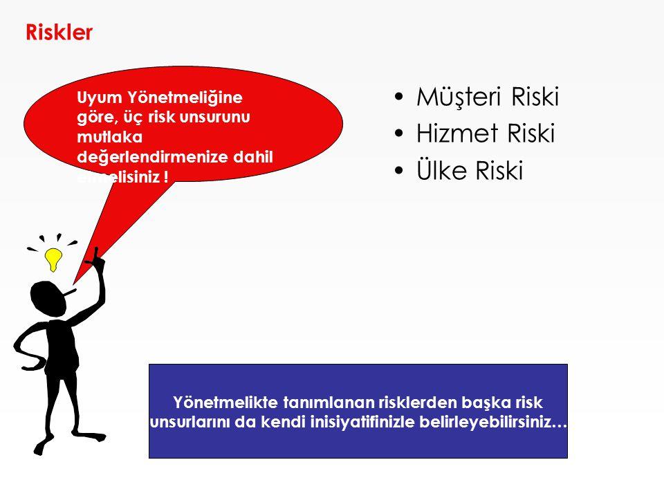 Müşteri Riski Hizmet Riski Ülke Riski Riskler