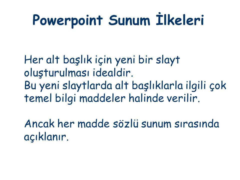 Powerpoint Sunum İlkeleri