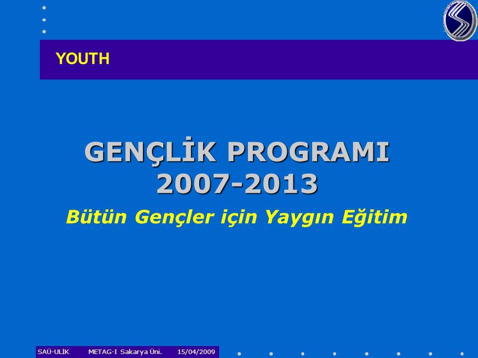 GENÇLİK PROGRAMI 2007-2013 Bütün Gençler için Yaygın Eğitim