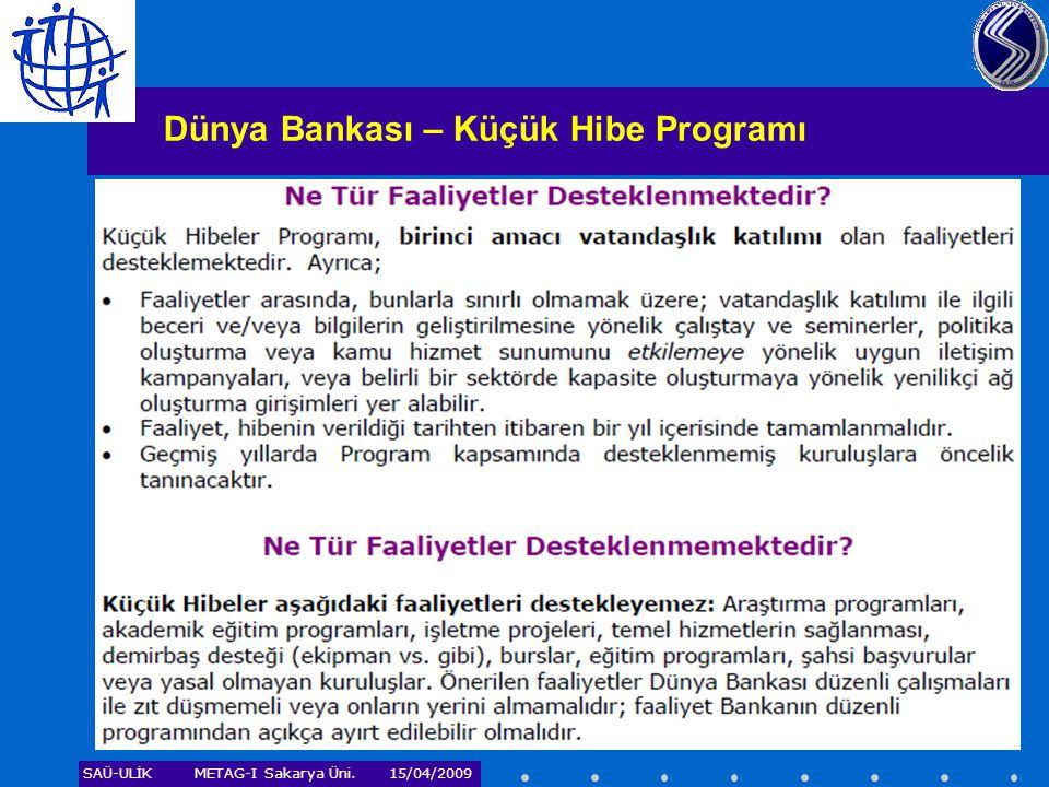 Dünya Bankası – Küçük Hibe Programı