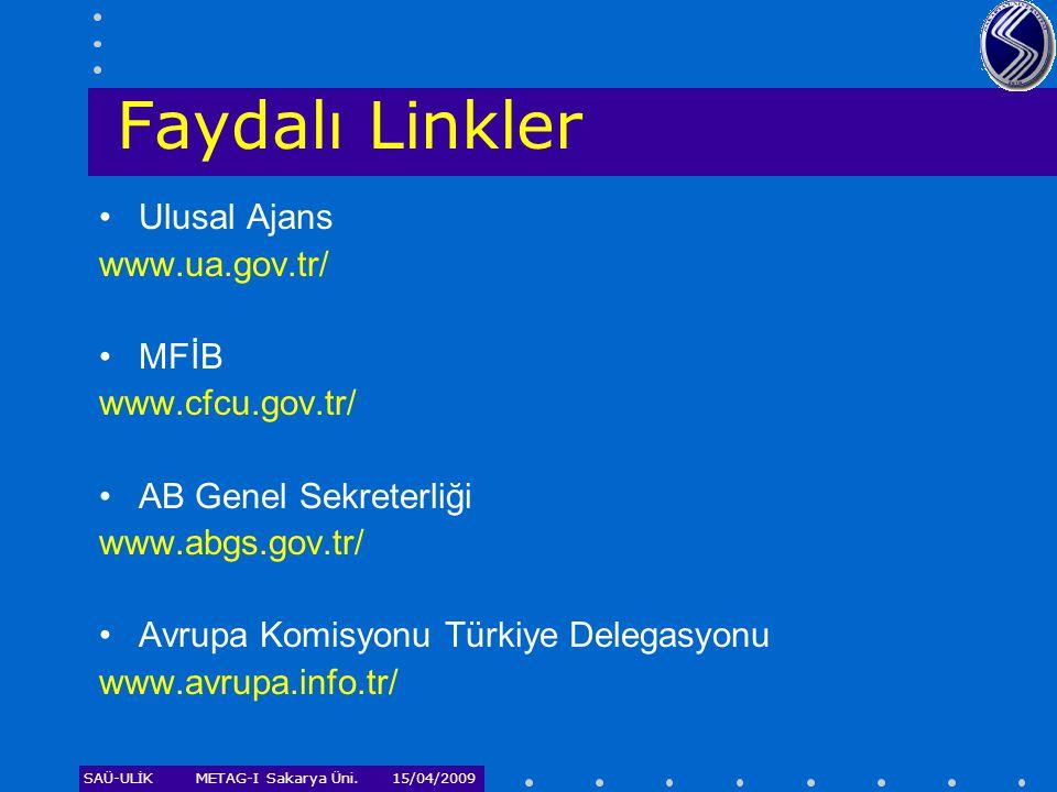 Faydalı Linkler Ulusal Ajans www.ua.gov.tr/ MFİB www.cfcu.gov.tr/