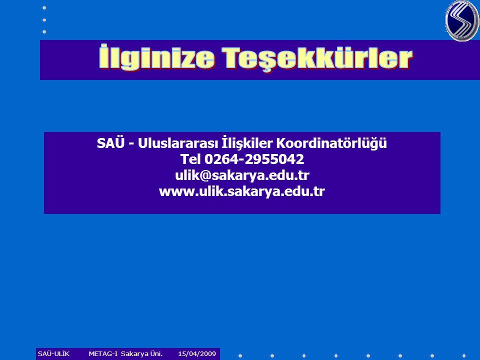 İlginize Teşekkürler SAÜ - Uluslararası İlişkiler Koordinatörlüğü Tel 0264-2955042 ulik@sakarya.edu.tr www.ulik.sakarya.edu.tr.