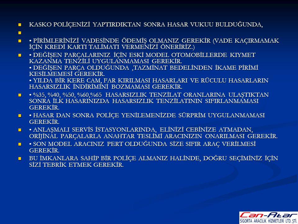 KASKO POLİÇENİZİ YAPTIRDIKTAN SONRA HASAR VUKUU BULDUĞUNDA,