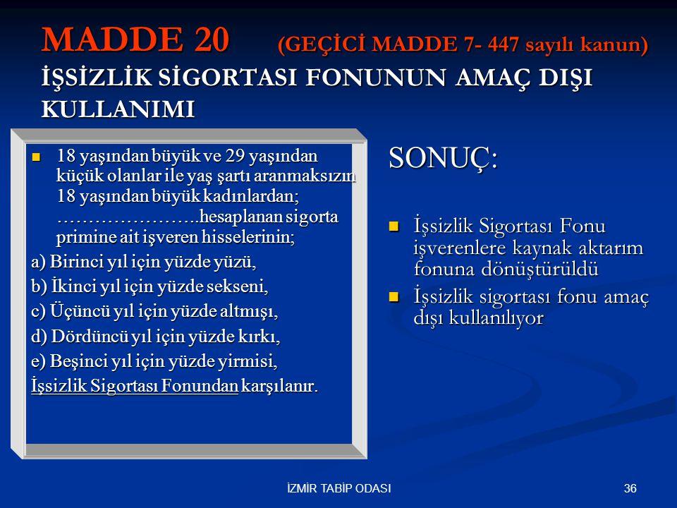 MADDE 20 (GEÇİCİ MADDE 7- 447 sayılı kanun) İŞSİZLİK SİGORTASI FONUNUN AMAÇ DIŞI KULLANIMI