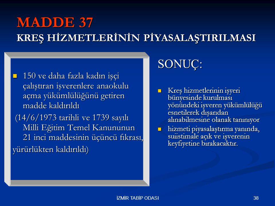 MADDE 37 KREŞ HİZMETLERİNİN PİYASALAŞTIRILMASI