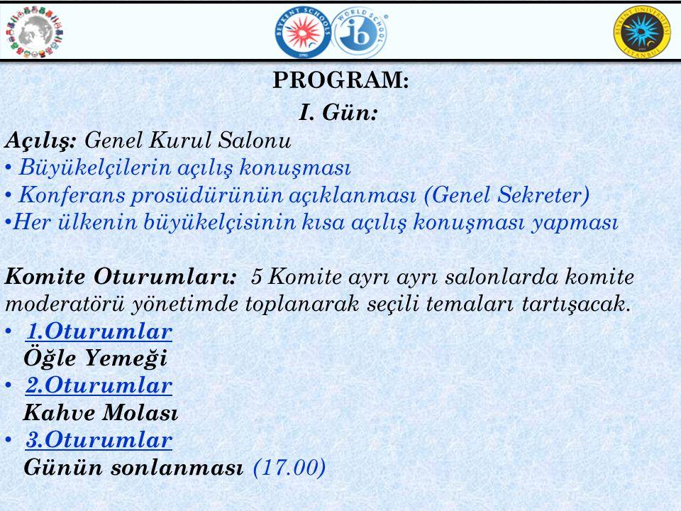 PROGRAM: I. Gün: Açılış: Genel Kurul Salonu. Büyükelçilerin açılış konuşması. Konferans prosüdürünün açıklanması (Genel Sekreter)