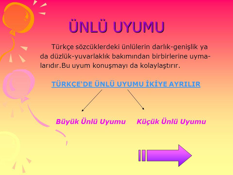 ÜNLÜ UYUMU Türkçe sözcüklerdeki ünlülerin darlık-genişlik ya