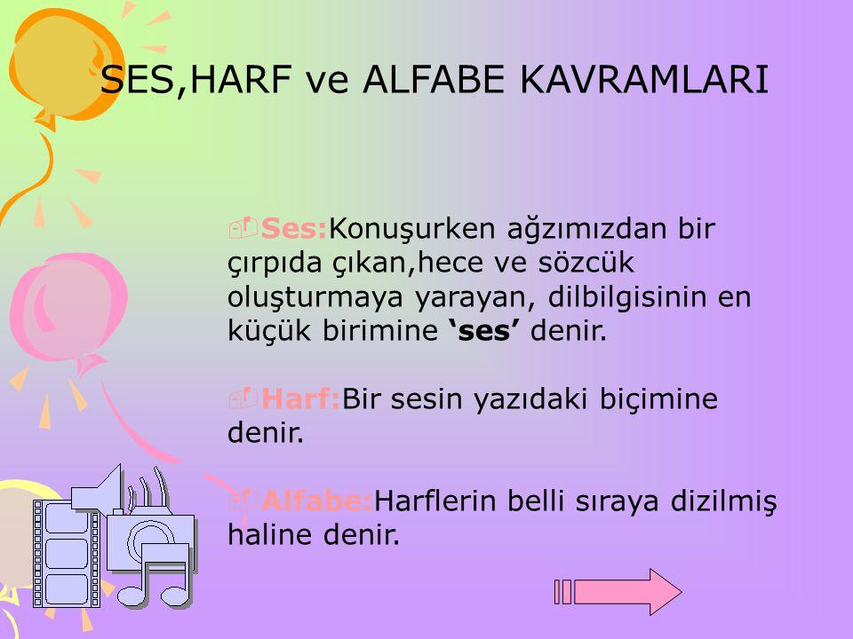 SES,HARF ve ALFABE KAVRAMLARI