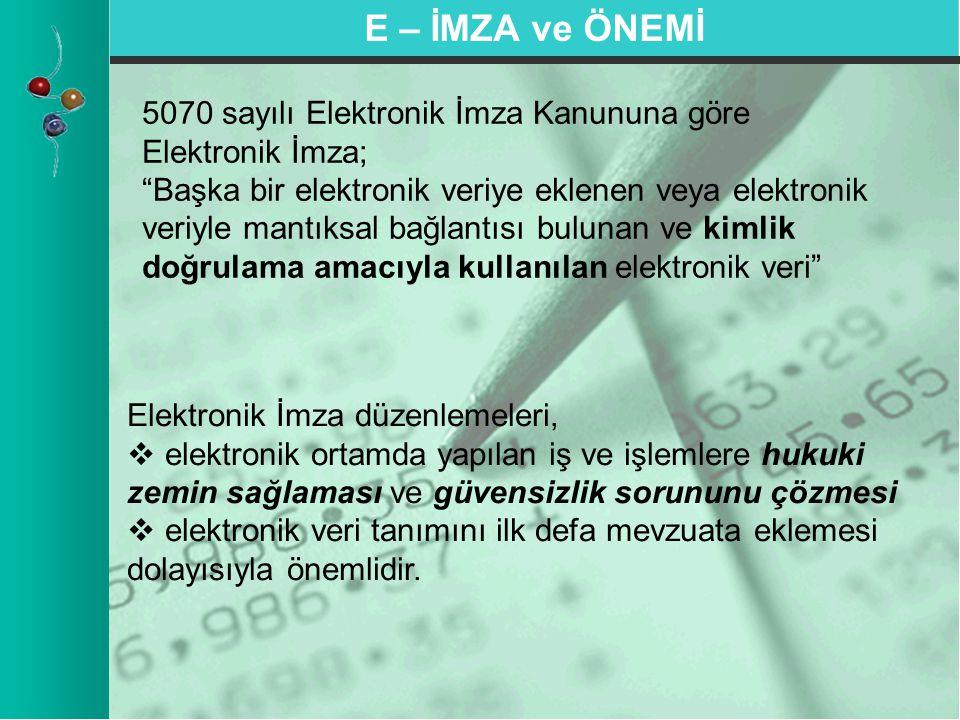 E – İMZA ve ÖNEMİ 5070 sayılı Elektronik İmza Kanununa göre Elektronik İmza;