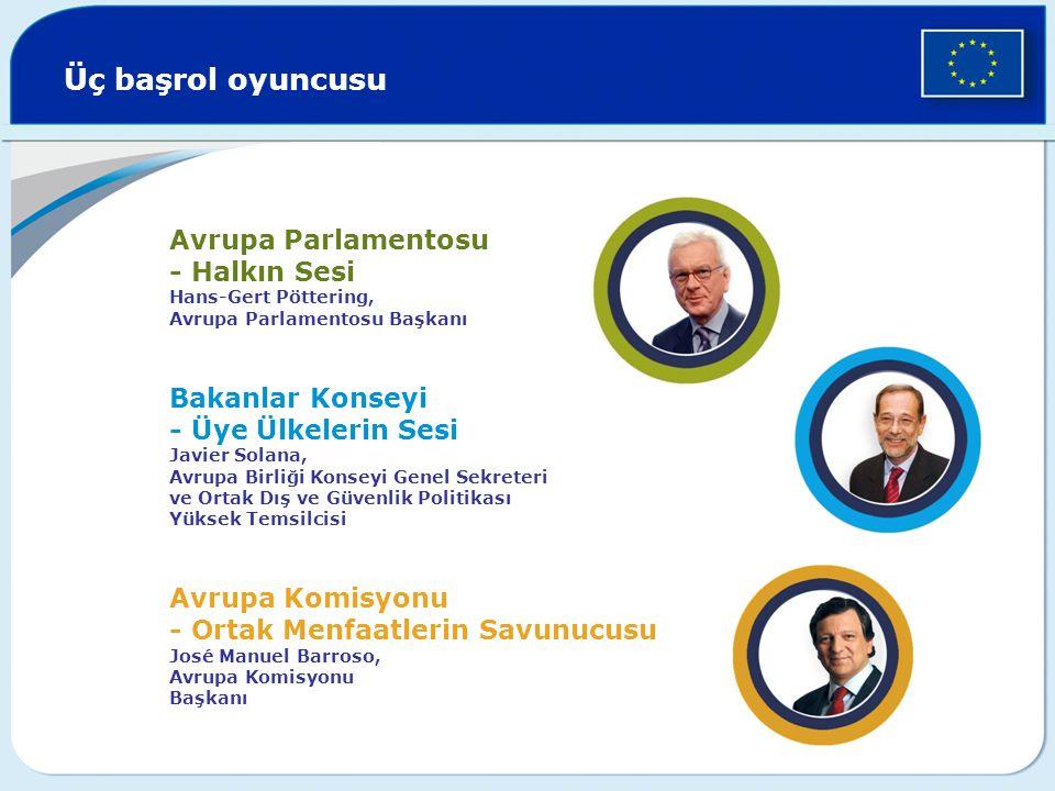 Üç başrol oyuncusu Avrupa Parlamentosu - Halkın Sesi Hans-Gert Pöttering,