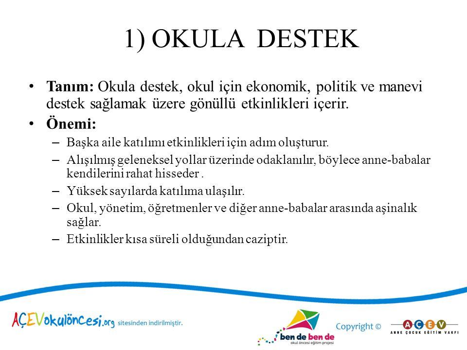 1) OKULA DESTEK Tanım: Okula destek, okul için ekonomik, politik ve manevi destek sağlamak üzere gönüllü etkinlikleri içerir.