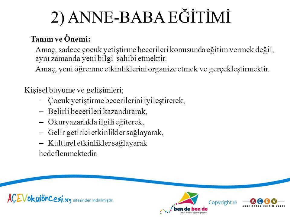 2) ANNE-BABA EĞİTİMİ Tanım ve Önemi: