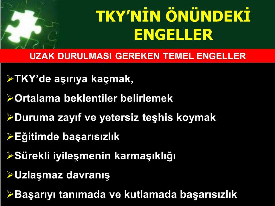 TKY'NİN ÖNÜNDEKİ ENGELLER UZAK DURULMASI GEREKEN TEMEL ENGELLER