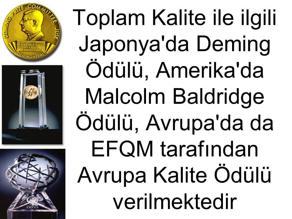 Toplam Kalite ile ilgili Japonya da Deming Ödülü, Amerika da Malcolm Baldridge Ödülü, Avrupa da da EFQM tarafından Avrupa Kalite Ödülü verilmektedir