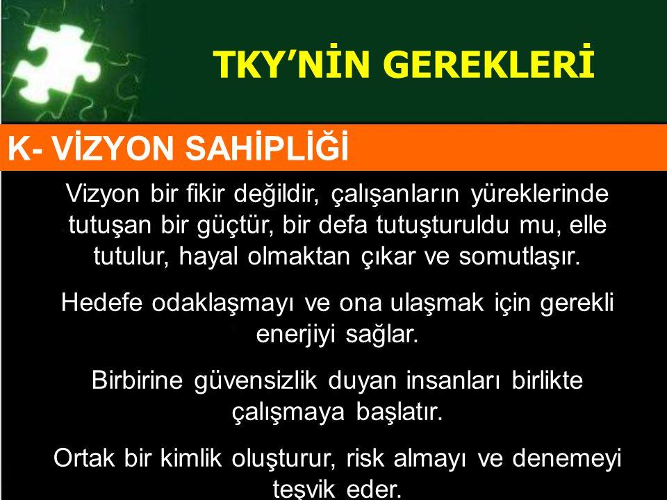 TKY'NİN GEREKLERİ K- VİZYON SAHİPLİĞİ
